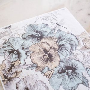 Belles & Whistles Decoupage Paper Blue and Yellow Floral 3 Blatt à 30 x 42cm
