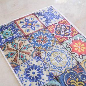 Belles & Whistles Decoupage Paper Colorful Tiles 3 Blatt à 30 x 42cm
