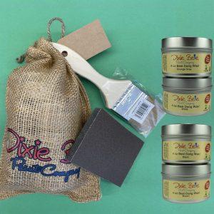 Dixie Belle Wachs Best Dang Sack O' Wax 4 x 4oz + Chip Brush + Sanding Sponge