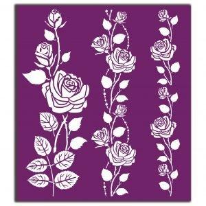 Belles and Whistles Silkscreen Schablone – leicht klebend – wiederverwendbar – Roses 20x25cm