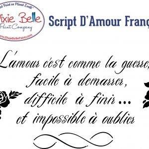 Dixie Belle Schablone – nicht klebend – wiederverwendbar –  Script d'Amour Francais 32,38 x 62,87 cm