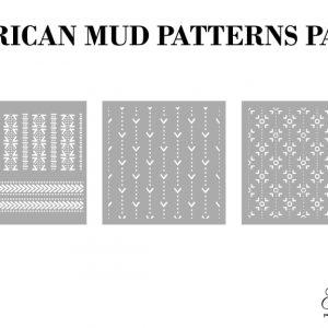 Grace on Design Schablone – nicht klebend – wiederverwendbar –  African Mud Pattern 30x30cm – 3er Set