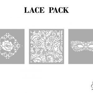 Grace on Design Schablone – nicht klebend – wiederverwendbar –  Lace 30x30cm – 3er Set