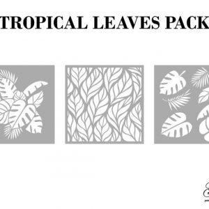 Grace on Design Schablone – nicht klebend – wiederverwendbar – Tropical Leaves 30x30cm – 3er Set